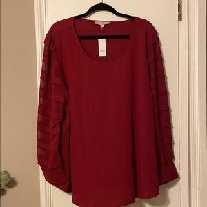 LOFT Burgundy Blouse Size 20 W/ tags